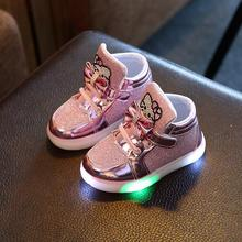 New Children Light Up Sneakers Kids LED Luminous Sport Shoes Boys Girls Colorful Flashing Lights Luminous Cat Boots Size 21-30(China)