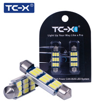 TC-X 1Pair LED Dome Festoon Car Signal Lights 5730 SMD Canbus 31 36 39 42MM 12V Auto Bulb Interior Car Lighting Car-styling Lamp(China)