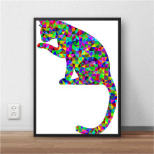 Geometric Cat Art Print Painting Poster Modern Wall Picture For Living Room Bedroom Home Decoration Cafe