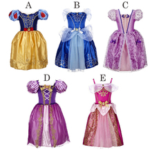 Baby Girl Princess Party Dresses Kids Girl Snow White Cinderella Sleeping Beauty Clothing Sofia Rapunzel Cosplay Costume Vestido(China)