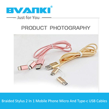 [Bvanki Type-C]100Pcs/Lot 2016New Products Wholesale Braid Nylon type-c 2 in 1 cable Micro usb to type-c cables charger wire usb