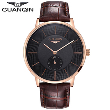 Original Brand GUANQIN business watch Men genuine Leather Strap Quartz Watches Fashion Men's Sports Watch male Casual clock hour