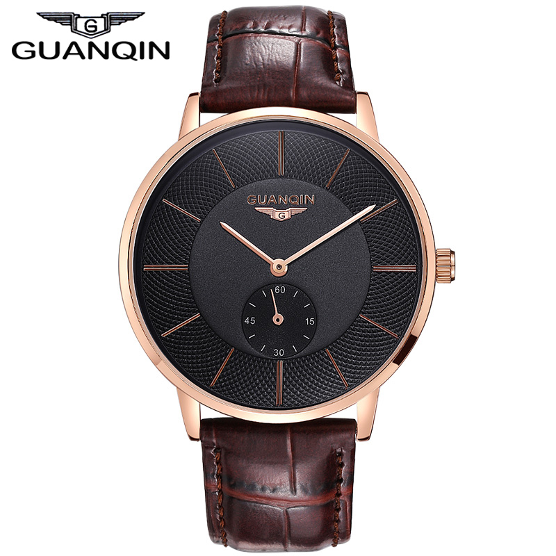 Original Brand GUANQIN business watch Men genuine Leather Strap Quartz Watches Fashion Men's Sports Watch male Casual clock hour(China (Mainland))