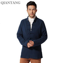 Navy Blue Spring Mens Long sleeve Jacket Coat Classic Chinese Style Tang Clothing hombre chaqueta Size M L XL XXL XXXL Mim15C(China)