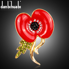 Women Big Red Poppy Flower Brooches Pins Free DHL Cheap Wholesale 120pcs/Lot Crystal Rhinestone Brooch Enamel Jewelry Fashion(China)