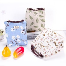 Portable Cotton Linen Insulation Thermal Picnic Snack Lunch Box For Office Women Kids Lunch Box Ice Bag Food Storage Case(China)
