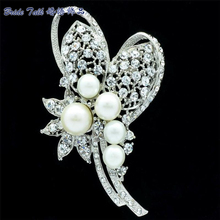 Faux Pearl Brooch Wedding Bouquet Flower Broach Pins Women Jewelry W/ Clear Rhinestone Brooches Crystals Accessories Bridal 6153
