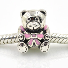 HOT SALE! Fits Europe Charms Bracelet Original 925 Sterling Silver Original Beads Teddy Bear Charm Women DIY Jewelry Findings