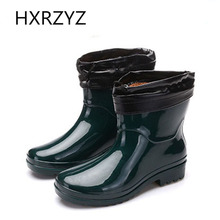 water shoes Spring/autumn plus cotton warm rain boots women's non-slip wear-resistant rain boots and ankle rubber boots woman