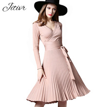 High Quality Elegant Winter Dress 2017 Office Dresses For Women Decorative Sashes V-Neck Solid Plus Size Vintage Vestidos(China)