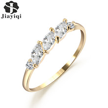 Jiayiqi(Jiayiqi) New Exquisite Copper Crystal Romantic Design Rings For Women Trend Style Rings Silvery Golden Unique Jewelry