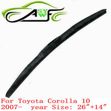 "auto car windshield wiper blade for Toyota Corolla 10 (2007onwards),26""+ 14"" Car Wipers Blades,Natural Rubber Wiper(China)"