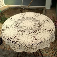 2017 Hand Crochet Lace Round Table Runner Table Cloth White Cotton Wedding Home Decor Knit Flower Tablecloth Cover Beige White