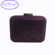 Luxury Womens Purple Hard Case Crystal Evening Bags and Evening Clutch(Hong Kong)
