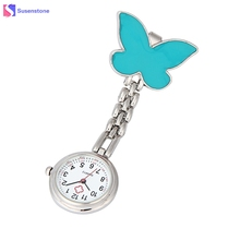Clip-on Fob Brooch Pendant Hanging Watch Men Women Butterfly Design Unisex Watches Fashion Doctor Nurse Pocket Watch Clock(China)