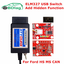 Add New Cars ELM327 USB With Switch Forscan For Ford HS MS CAN BUS USB ELM 327 V1.5 PIC18F25K80 FULL Chips ELM-327 OBD2 Scanner