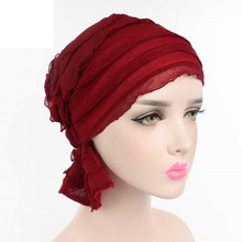 Women Chiffon Ruffle Cancer Chemo Hat Beanie Scarf Turban Head Wrap Cap Knitted hat Casual Black White Red Pink Light Blue Navy