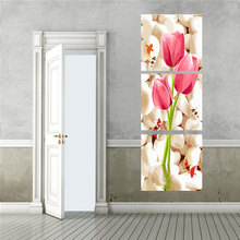 3pcs/set new arrival fashion design tulips flowers Picture DIY Painting By Numbers Flower Canvas Oil Painting HD0318-1