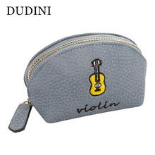 DUDINI New Korean Fashion Small Women Wallets PU Zipper Bag Female Coin Purse Lichee Pattern Hand Embroidery Style Card Holder