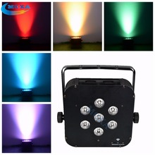 7Pcs*10W RGBW Wireless Battery LED Flat Par Cans Light for Christmas Wedding Stage