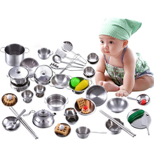 16/25/32/40 Pcs Dollhouse Miniature Kitchen Cooking Cookware Set Stainless Steel Kid Pretend Play Kitchen Toy Baby Toys Boy Gift(China)