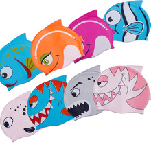 Free Shipping 2017 New Children Swimming Cap Children Cartoon Caps Waterproof Silicone Color More Fishes Print