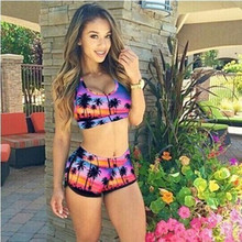 2017 Models of The Explosion of Women's Seven Printed Swimsuit Two Sets of Bikini Female Swimsuit  9022