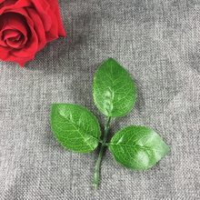 Low Price 10Pcs Artificial Silk Green Rose Leaf Leaves For Handwork Accessories Wedding Bouquet Decoration