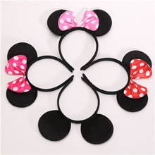 1pc Lovely Girls Bows Knot Minnie Mickey Ears Baby Hair Accessories Headband Kids Boys Happy Birthday Party Christmas Hairbands