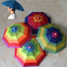 Outdoor Large Multicolor Cycling Fishing Hiking Sun Camping Head Umbrella Sun Rain Umbrellas Beach Camping Hat Cap Outdoor Sport(China)