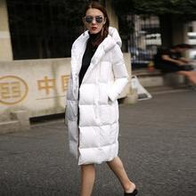 Wholesale manufacturers warm duck donw coat 2017 winter Fashion brand hooded longer 90% white duck Down jacket coat wj1007