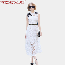 Vintage Long Dresses 2018 Spring Women Fashion Hollow Out Turn down Collar Topshop Belt White / Lavender Hot Sale Dress(China)