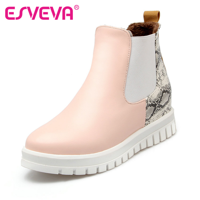 ESVEVA Plus Size 34-43 Slip on Printing Leather Woman Shoes Wedges High Heel Ankle Boots Round Toe Slip on Platform Short  Boots<br><br>Aliexpress