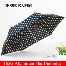 JESSE KAMM 165G Compact  three  Folding Rain Travele light Aluminium Red Yellow  Women Men high quality cheap  fashion umbrellas