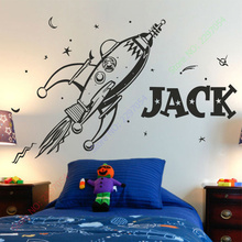New style ROCKET wall sticker space boys bedroom stickers art vinyl Personalise kids name stars decal