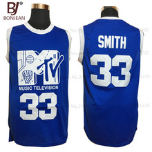 Mens Basketball Jerseys #33 Will Smith Music Television First Annual Rock N'Jock B-Ball Jam 1991 Blue Stitched Shirts