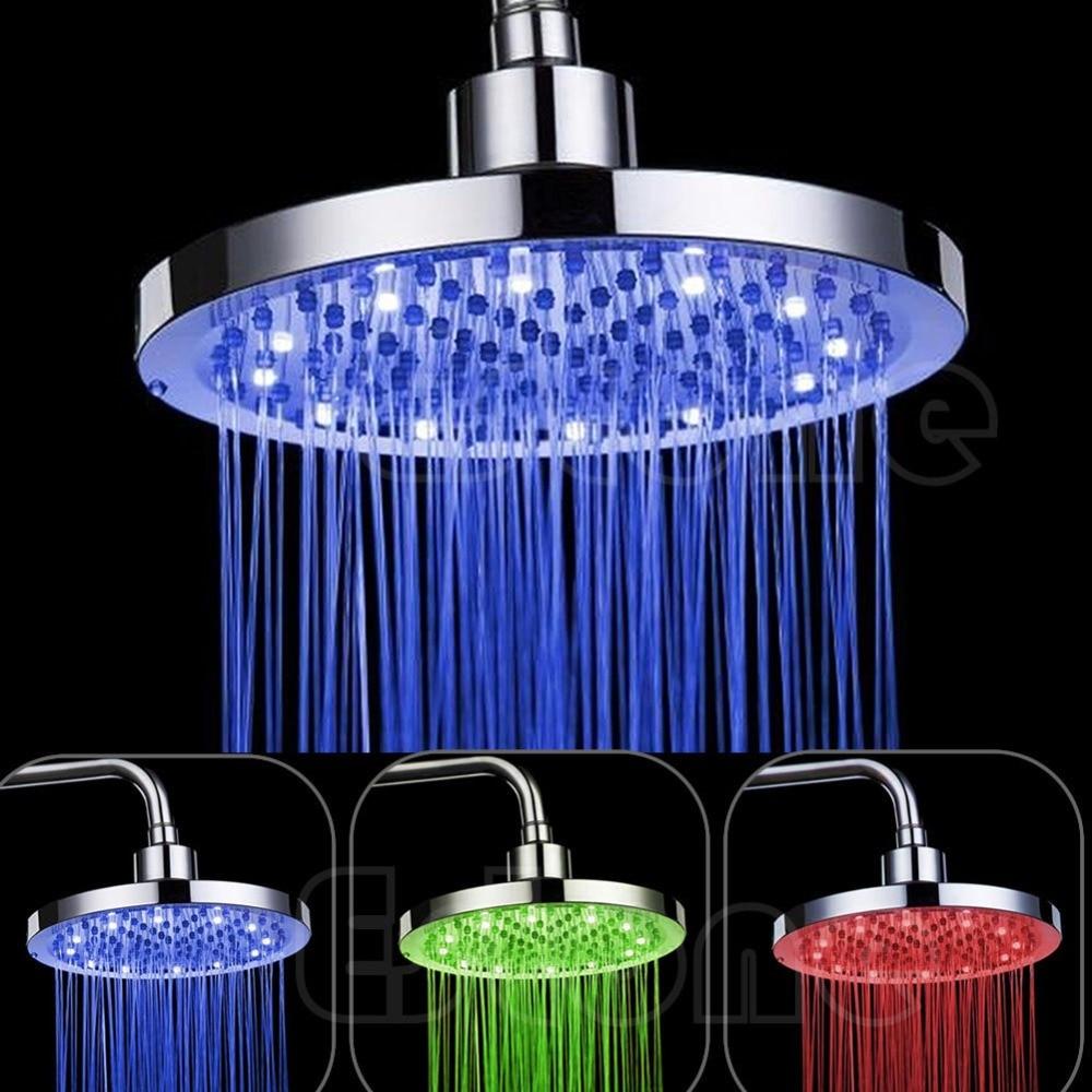 New Wonderful 8inch Round Rain Stainless Steel Bathroom RGB LED Light Shower Head<br><br>Aliexpress