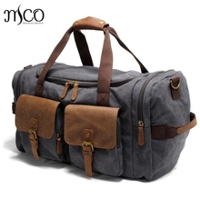 NewLarge Capacity MenTravel Bags Vintage Military Crazy horse leather Luggage Bag Canvas Casual Shoulder Tote Weekend Duffel Bag