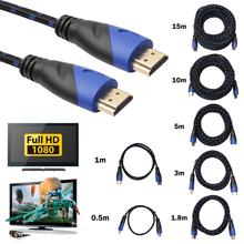 0.5m/1m/1.8m/3m/5m/10m/15m Braided HDMI Cable V1.4 AV HD 3D Male to Male 1080P HDMI Cable for PlayStation 3 and for Xbox 360