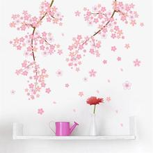 Pink Flower Branch Tree Cherry blossoms Home Decoration Wall Stickers Living Room Bedroom Family Modern Wall Decal(China)
