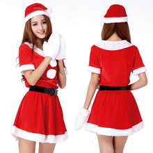 Hot Sale 1 Set Sexy Women Santa Claus Christmas Costume Party Girls Outfit Fancy Dresses White Fluff Gloves Christmas Clothing(China)