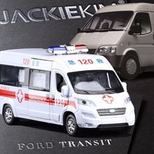 New 1:32 Scale Ford TRANSIT Ambulance Alloy Metal Diecast Car Model With Pull Back Door Opened For Kids Gifts Toys Collection