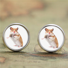 10pairs/lot Hamster earring a small furry animal which is similar to a mouse print glass Photo pet earring(China)