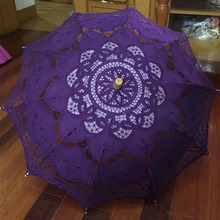 Buy New Fashion Handmade Lace umbrella parasol purple Royal Blue White Wedding Umbrella Parasol Bridal Bridesmaid Party for $30.25 in AliExpress store