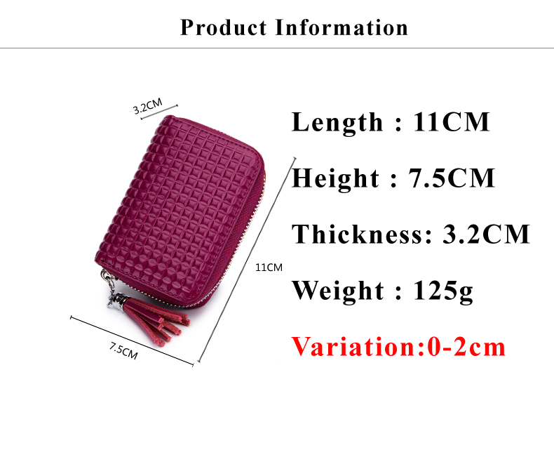 Lomelobo Lady Split Leather Card Wallet Holder Girl Zipper Coin Purse Women Cowhide Large capacity Card Case Housekeeper HCL7126 Details (01)
