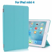 For iPad mini 4 Case, Smart Cover Case w/ Translucent Frosted Hard Back & Magnetic Triple Folding Cover w/ Auto Sleep / Wake