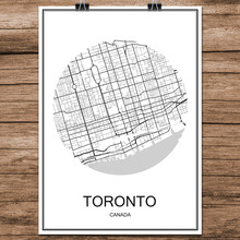 TORONTO Canada Black White World City Map Modern Print Poster Coated Paper for Cafe Living Room Home Decoration Wall Art Sticker(China)