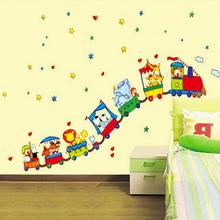 Hot Animal Circus Train Design Vinyl Wall Stickers For Kids Rooms Home Decor DIY Child Wallpaper Art Decals Decoration Accessory