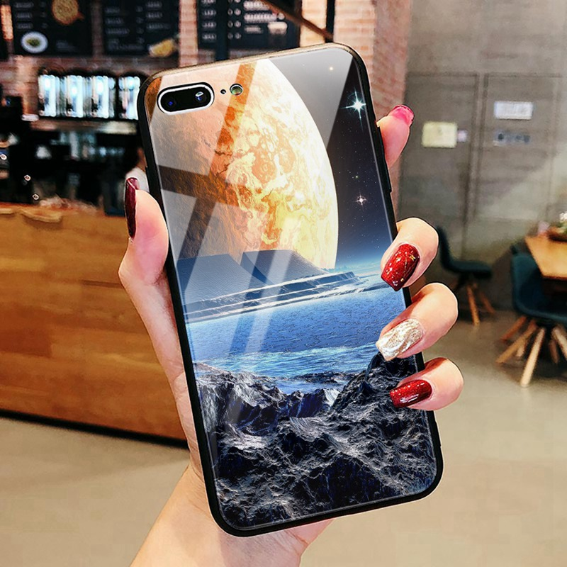 TOMKAS Luxury Space Cover Case for iPhone X Xs Max Xr Xs Glass Silicone Phone Case for iPhone 7 8 Plus Cases for iPhone 6 S 6s (21)