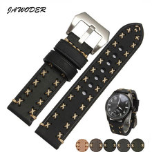 JAWODER Watch band 22mm Men Manual customization stitches pattern Genuine Leather watch strap stainless steel Silver pin buckle(China)